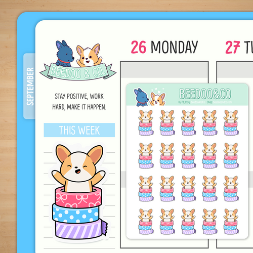 Miso Corgi Washi Tape Planner Stickers