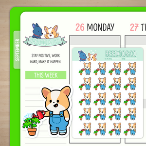 Watering Plants Miso Corgi Planner Stickers