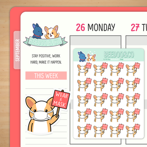 Miso Corgi Wears A Mask Holding Sign Planner Stickers