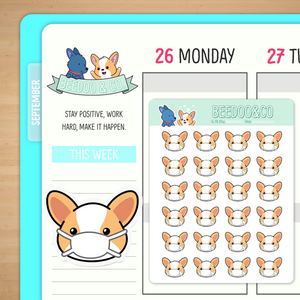 Miso Corgi Wears A Mask Planner Stickers