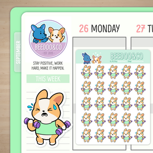 Miso Corgi Lifting Weights Planner Stickers