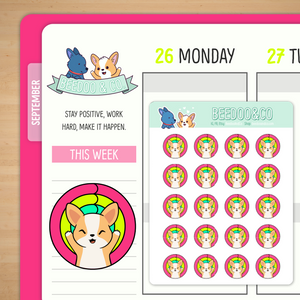Corgi Fitness Ring Planner Stickers