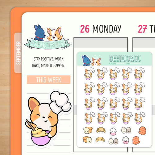 Miso the Corgi Baking Planner Stickers