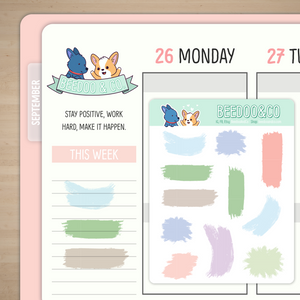 Pastel Brush Strokes Deco Planner Stickers