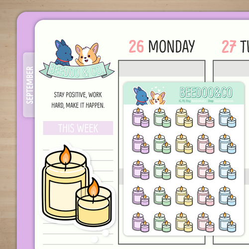 Hand Drawn Colourful Candles Planner Stickers