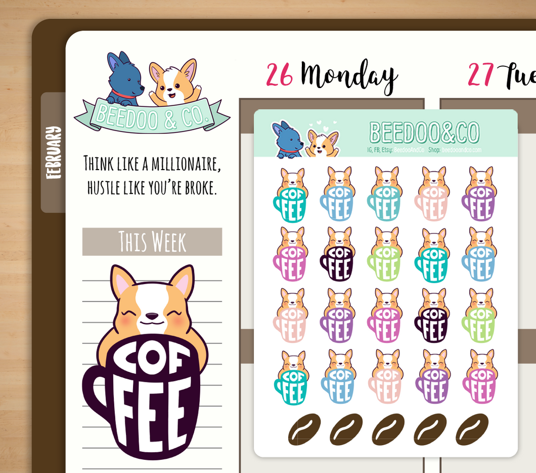 Hand Drawn Miso Coffee Planner Stickers