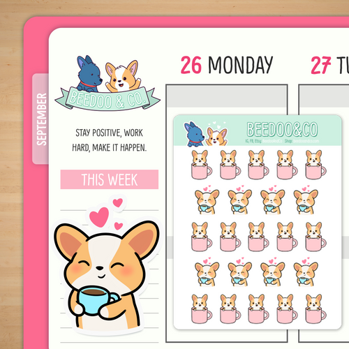 Miso the Corgi Drinking Coffee/Tea Planner Stickers