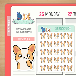 Cold Sore Miso Corgi Planner Stickers