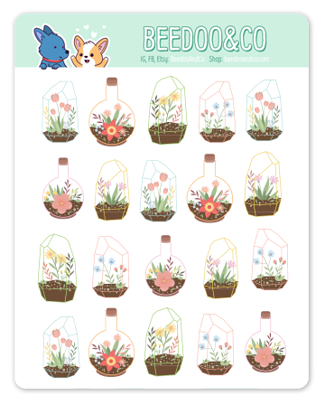 Colourful Terrarium Planner Stickers