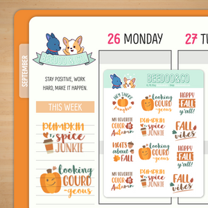 Fall Vibes Planner Stickers