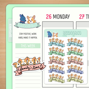 Corgi Family Time Planner Stickers