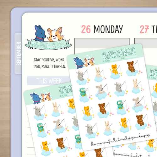 Fishing Animals Planner Stickers