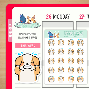 Frustrated Miso Corgi Planner Stickers