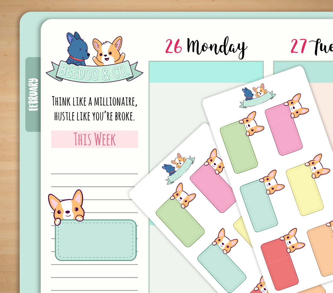 Hand Drawn Half Boxes Planner Stickers
