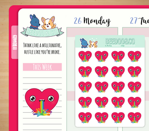 Heart Rainbow Barf Planner Stickers