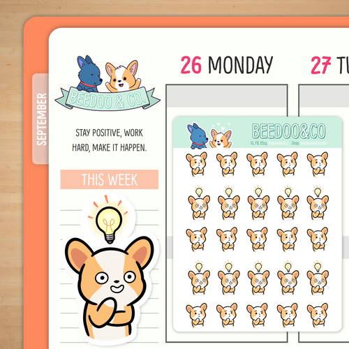 Thinking Miso Corgi Planner Stickers