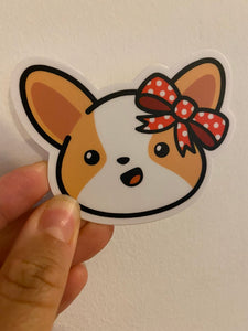 "Miso The Corgi Wearing A Red Bow Vinyl Sticker (3"")"