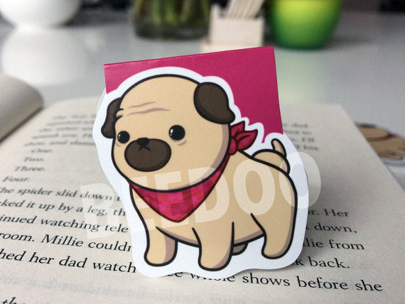 Cute Pug Magnetic Bookmark