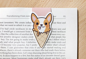 Corgi Ice Cream Magnetic Bookmark