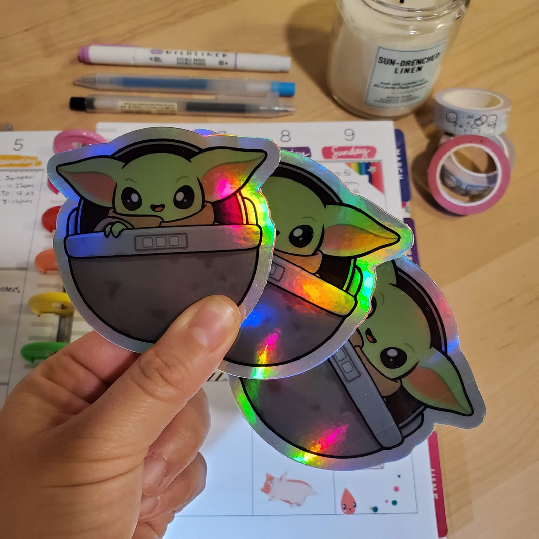 "B GRADE Baby Green Alien Holographic Vinyl Sticker (3"")"