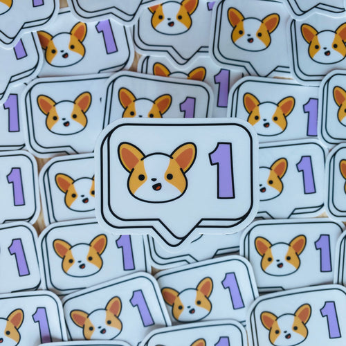 Clear Vinyl Sticker - Corgi Social Media Like