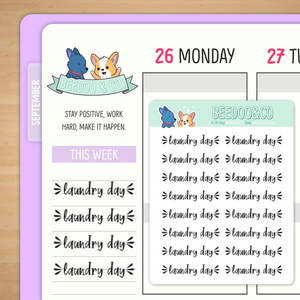 Script Laundry Day Planner Stickers