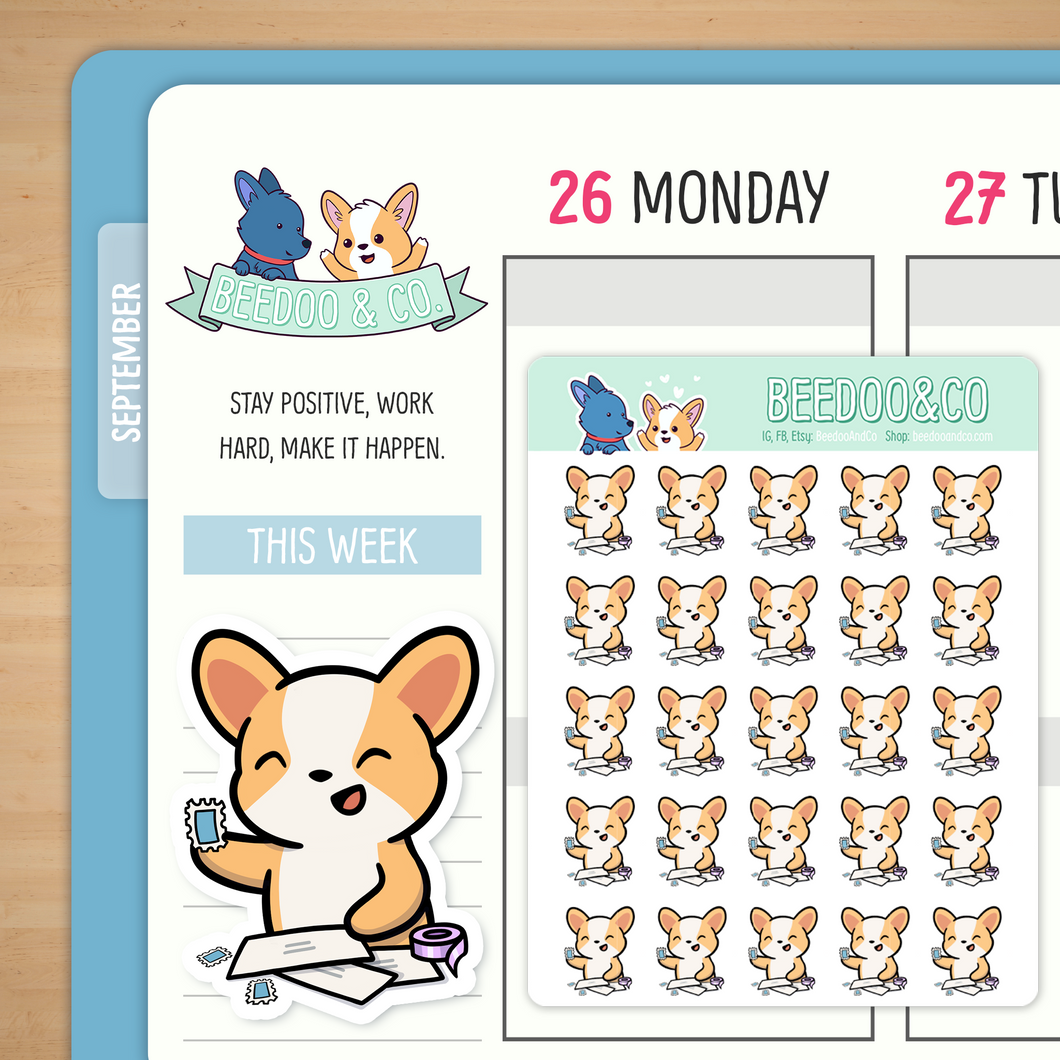 Snail Mail Miso Corgi Planner Stickers