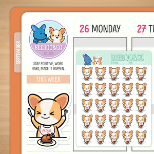 Miso The Corgi Meal Time Planner Stickers
