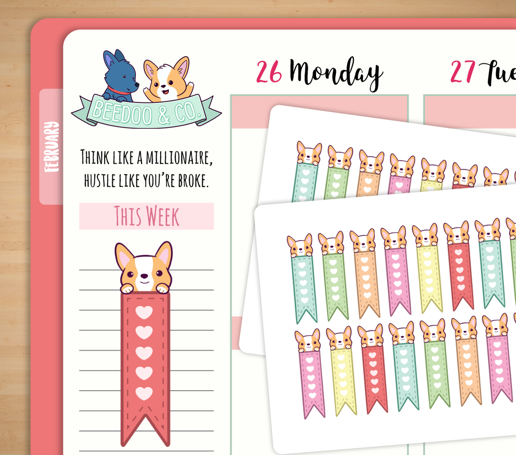 Hand Drawn Page Flags Planner Stickers