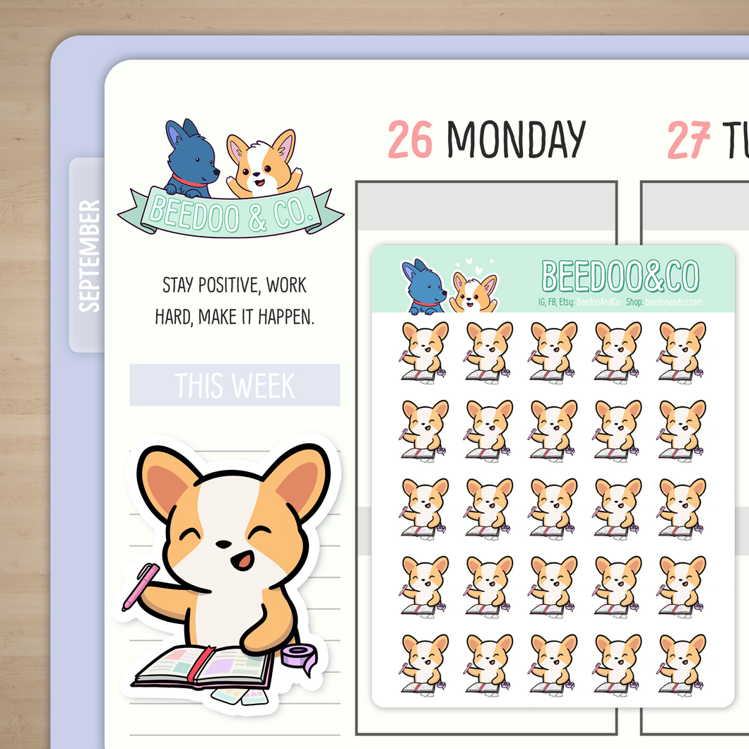 Planning Time Miso Corgi Planner Stickers