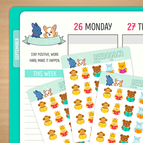Reading Animals Planner Stickers