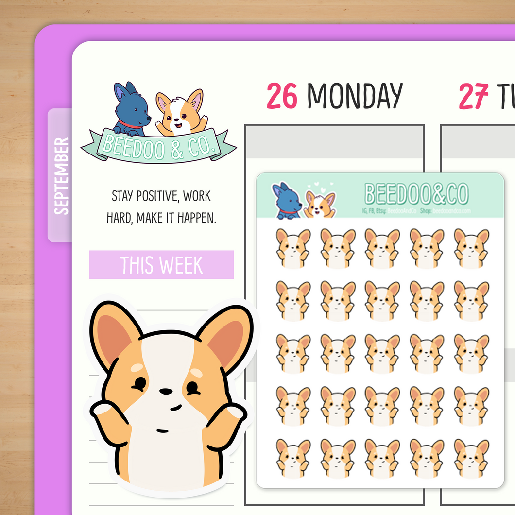 Shrugging Shoulders Miso Corgi Planner Stickers