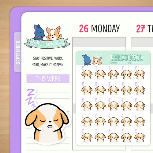 Sleepy Miso Corgi Planner Stickers