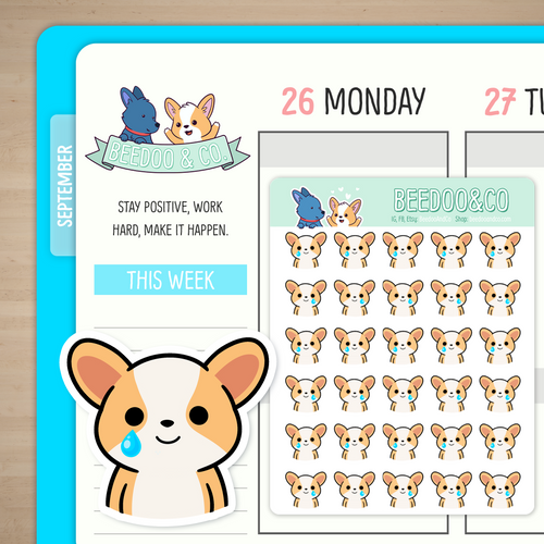 Smiling but Crying Miso Corgi Planner Stickers