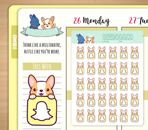 Snapchat Icon Corgi Planner Stickers