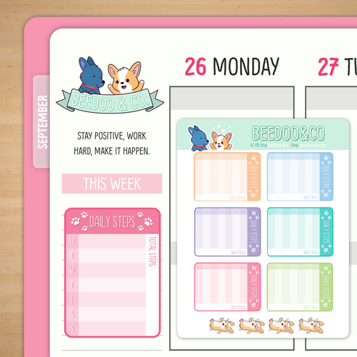 Weekly Step Tracker Planner Stickers