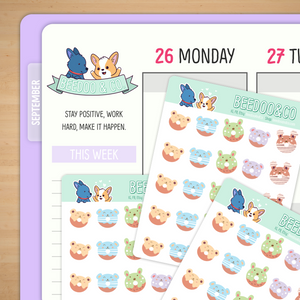 Animal Doughnuts Planner Stickers