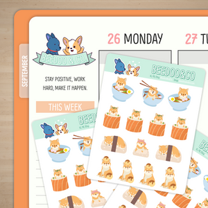 Shiba Inu Japanese Foods Planner Stickers