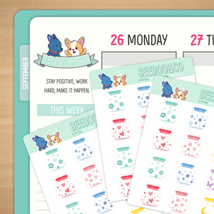Cute Colourful Jars Planner Stickers