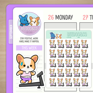 Miso Corgi Running On Treadmill Planner Stickers