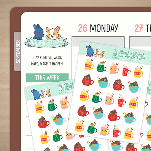 Holiday Hot Chocolate Planner Stickers