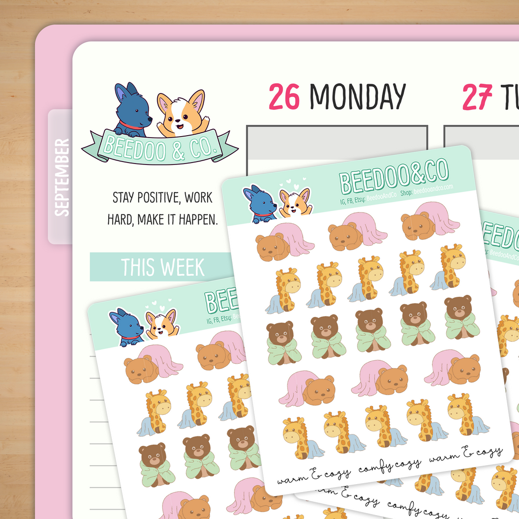 Warm And Cozy Animals Planner Stickers