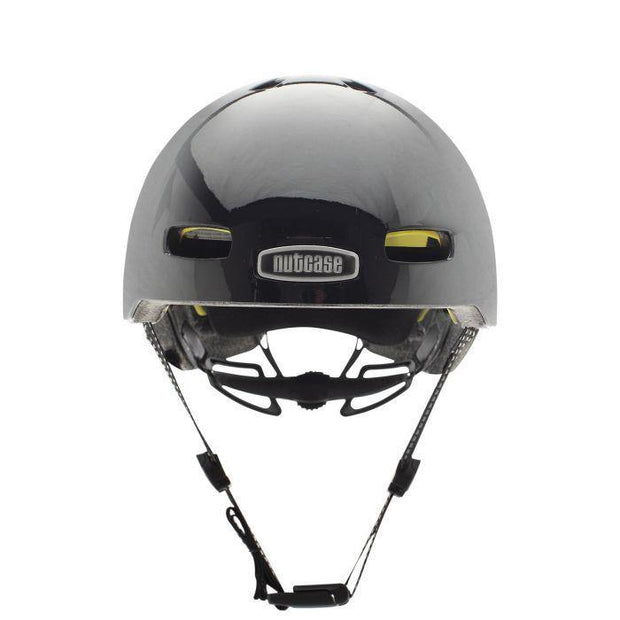 Nutcase Street Darth Lightin Reflective Mips helm Medium voorzijde met kinband