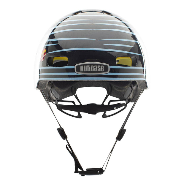 Nutcase Little Nutty Defy Gravity Reflective MIPS Helm Small voorzijde met kinband