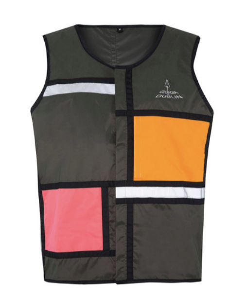 D1 reflecterend vest - Georgia in Dublin - groen oranje roze - recht medium