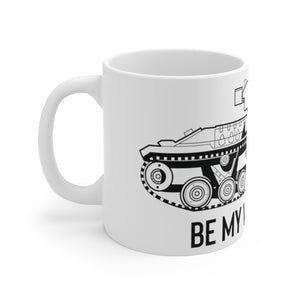 "World War 2 ""Be My Valentine"" British Tank White Ceramic Mug"