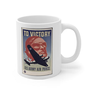 US Army Air Force WW2 Vintage Poster White Ceramic Mug