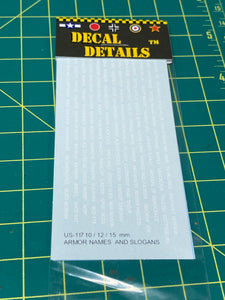 Decals- US Armor Names and Slogans 15mm | US-117 | Axis and Allies