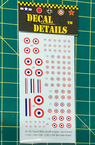 Decals- WW2 French Aircraft Insignia | FR-100 | Axis and Allies