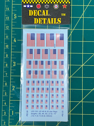 Decals- US WW2 American Flags | US-118 | Axis and Allies